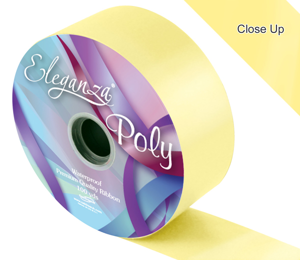 Eleganza Poly Ribbon 50mm x 91m (100yds) No.10 Pale Yellow