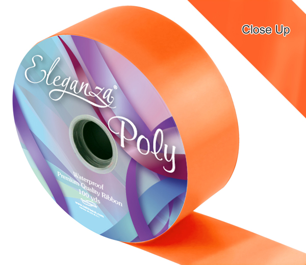 Eleganza Poly Ribbon 50mm x 91m (100yds) No.04 Orange