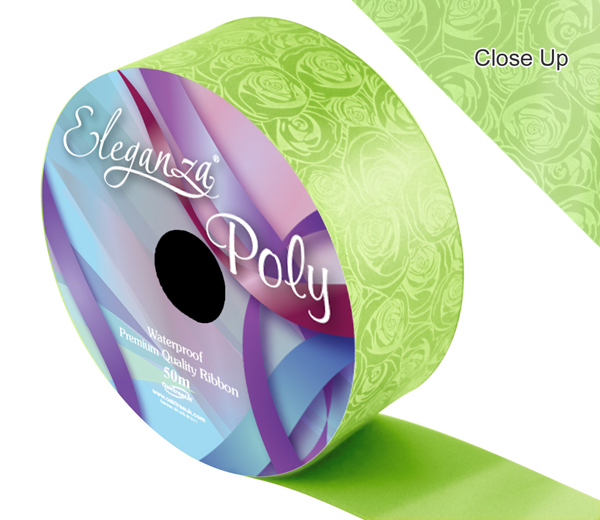 Eleganza Poly 50mm x 50m Elegant rose Print Lime Green